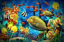 Cartoon Scene Animals Swimming...