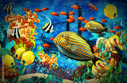 Photo cartoon scene animals swimming on colorful and bright coral reef - illustration