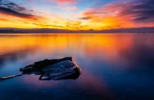Steine Am Schönen Seeufer Des Bodensee Zum Sonnenaufgang