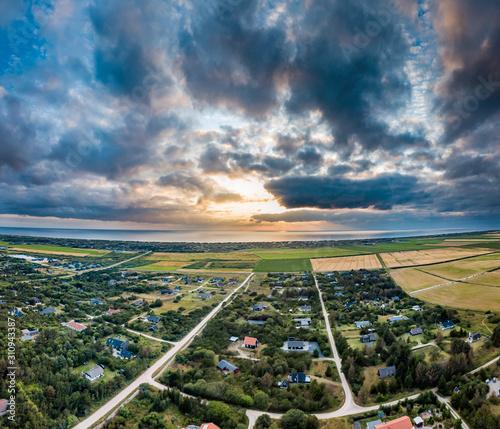 Stampa su Tela Sunset above Ringkobing coast, Jutland - Denmark - Europe