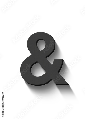 Photo ampersand and sign in black on white background 3d