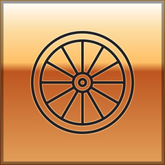 Black line Car wheel icon isolated on gold background. Vector Illustration