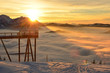 canvas print picture - Sonnenuntergang mit Wolken im Winter auf dem Grünberg (Bezirk Gmunden, Oberösterreich, Österreich) - Sunset with clouds in winter on the Grünberg (Gmunden district, Upper Austria, Austria)