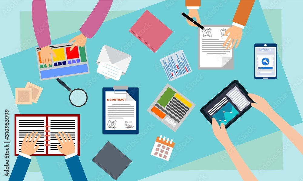 Fototapeta Brainstorming teamwork, business meeting illustration design vector