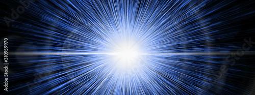 Obraz 抽象的な青い光線 - fototapety do salonu