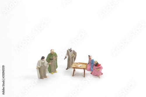 Christmas nativity scene with baby Jesus, Mary & Joseph Wallpaper Mural