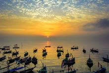 Fishermen Boats At Sunrise On ...