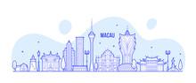 Macau Skyline China City Buildings Vector Linear