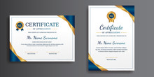 Premium Gold And Blue Certificate Of Achievement Template, Clean Modern Design With Gold Badge