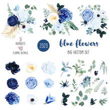 Classic Blue, White Rose, White Hydrangea, Ranunculus