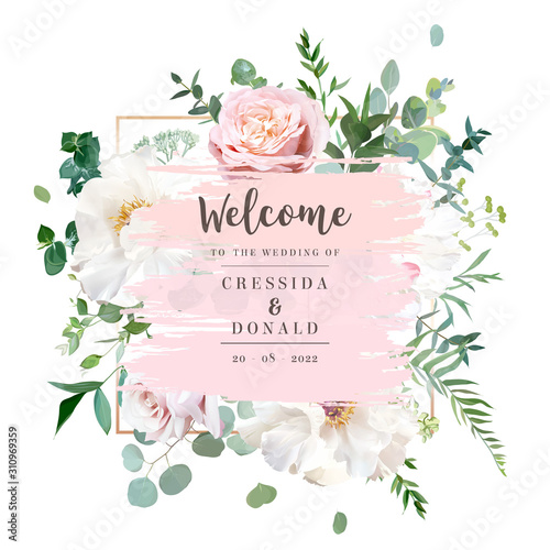 Photo Elegant floral vector card with white and creamy woody peony, dusty rose