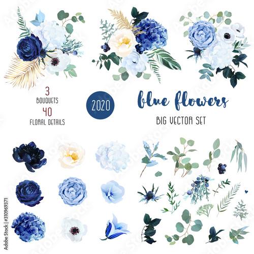 Obraz na plátně Classic blue, white rose, white hydrangea, ranunculus