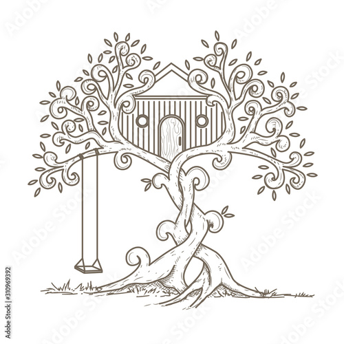 Treehouse line art design Fototapet