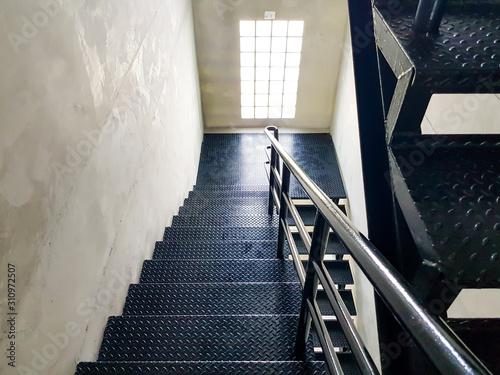 Black Diamond steel floor stair material inside of the industrial building Wallpaper Mural