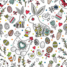 Cute Seamless Pattern For Easter Holiday. Rabbits, Easter Eggs, Hen Hen And  Chickens, Willow And Flowers. Can Be Used For Wallpaper, Pattern Fills, Web Page Background, Postcards.