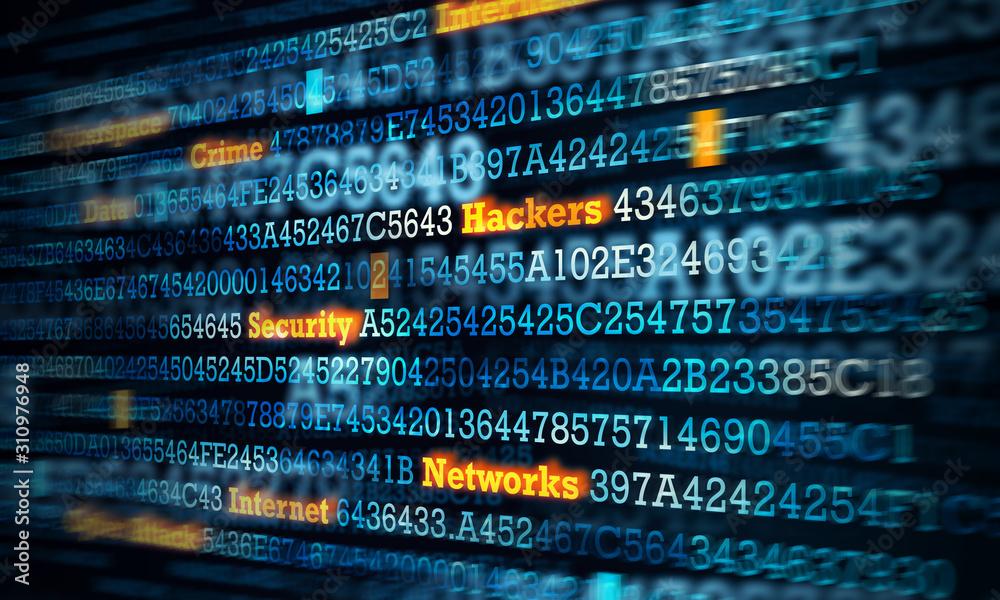 Fototapeta Computer hacking concept . Mixed media