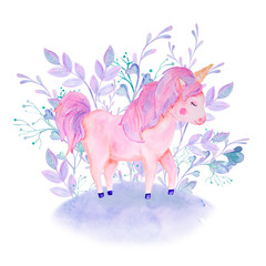 watercolor pink, lilac unicorn composition with flowers
