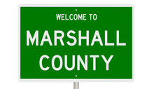 Rendering Of A Green 3d Highway Sign For Marshall County