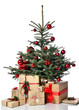 Christmas tree decorated with red patchwork ornament balls and craft presents gifts for new year xmas