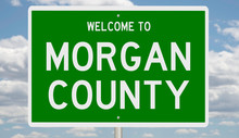 Rendering Of A Green 3d Highway Sign For Morgan County