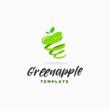 Spiral Green Apple Logo Design Template . Green Fruit Skin Logo Design Inspiration . Spiral Rind Or Fruit Skin