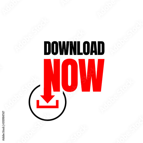 Fototapety, obrazy: Download Now Button icon Stylist Text Rounded Rectangular Shape with Download Sign Vector Symbol