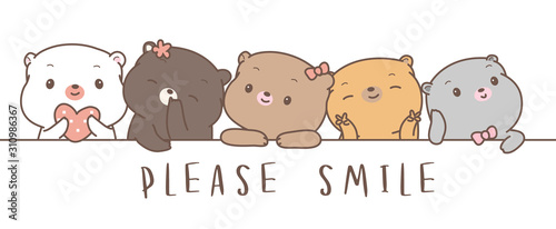 Cute baby bear cartoon hand drawn style,for printing,card, t shirt,banner,product.vector illustration