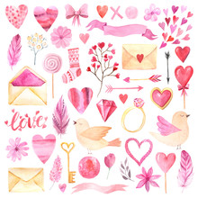 Watercolor Cute Valentine's Day Elements