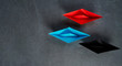 Business Concept, Paper Boat, the key opinion Leader, the concept of influence.Red.blue and black paper boat as the Leader on a gray concrete background,copy space,flat lay.