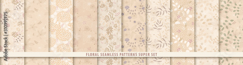 Fototapeta Floral seamless sepia pattern set. Flowers and leaves.. Beige vector background. Fabric and textile print obraz na płótnie