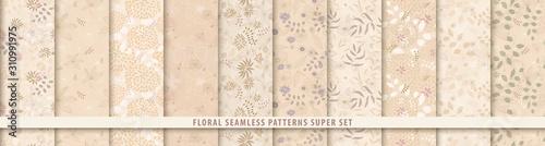Vászonkép  Floral seamless sepia pattern set