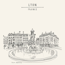 Fountain In Lyon, France, Euro...