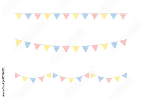 obraz PCV Set of seamless cute pastel colored triangle party buntings. Baby and kids party decoration. Flat vector illustration.