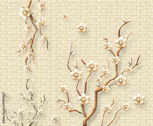 Do pokoju   3d-mural-modern-wallpaper-yellow-wall-bricks-background-branches-with-white-and-golden-stem-flowers