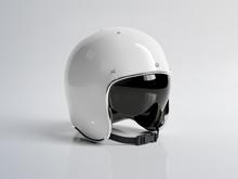White Vintage Motorbike Helmet Isolated On White Background Mockup 3D Rendering