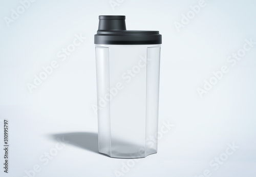 Fotografia Protein shaker isolated on grey mockup 3D rendering