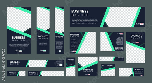 Fototapeta set of creative web banners of standard size with a place for photos.  Business ad banner. Vertical, horizontal and square template. vector illustration EPS 10 obraz