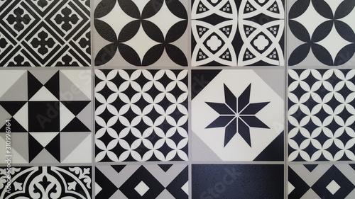 Fotomural Portuguese tiles Azulejo background in Mediterranean black and white design