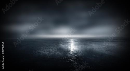 Dark street, wet asphalt, reflections of rays in the water. Abstract dark blue background, smoke, smog. Empty dark scene, neon light, spotlights. Concrete floor - 310997954