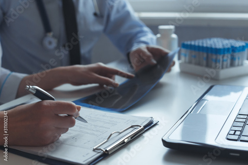 Fotografie, Tablou  Hands of patient and doctor consultation prescribing treatment