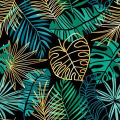 Fototapeta Popularne Tropical seamless pattern. Summer tropic background. Green and pink jungle leaves
