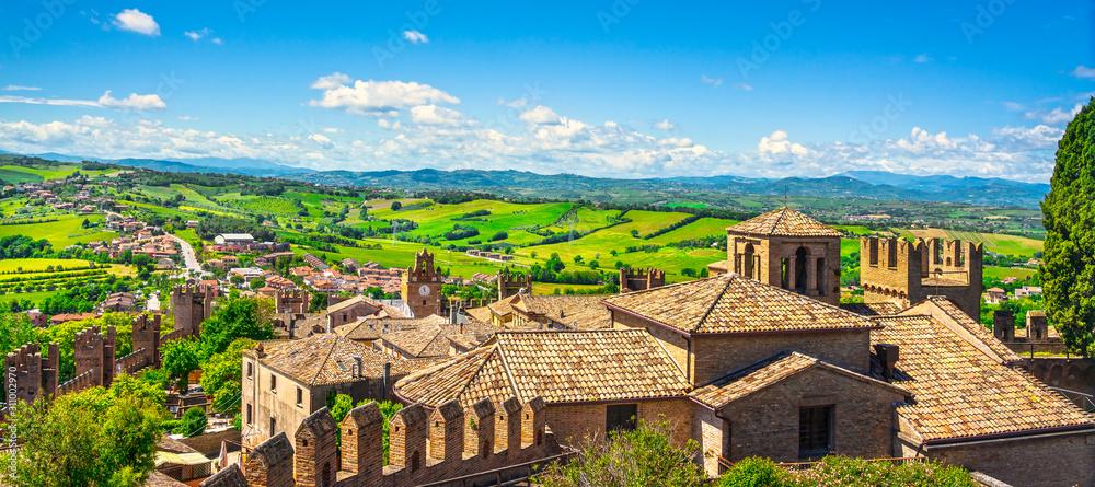 Fototapeta Gradara medieval village view from castle, Pesaro and Urbino, Marche region, Italy