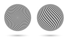 Sphere With Black And White Te...