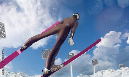Photo Skier in flight. Ski jumping sport.
