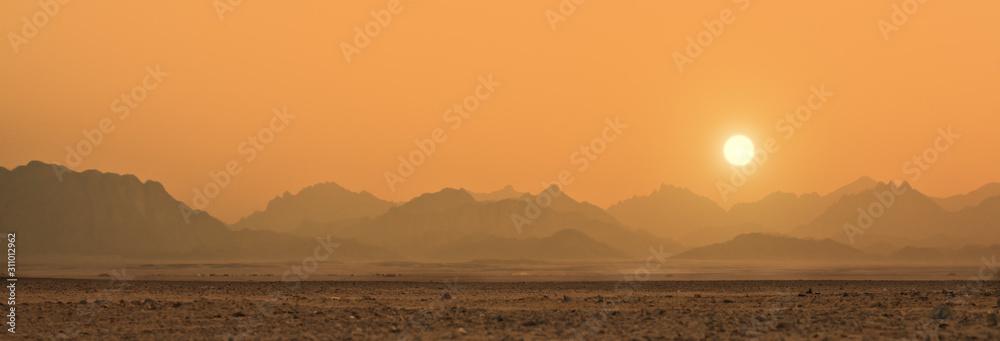 Fototapeta sunset in Sahara desert