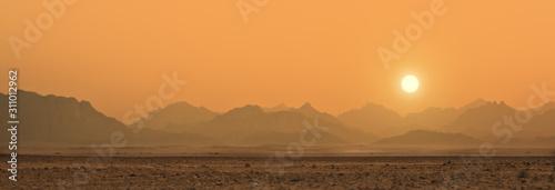 sunset in Sahara desert Fotobehang