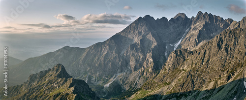 Fototapeta Mountain range sunrise, Jahnaci peak High Tatras Slovakia obraz