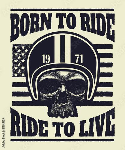 Aggressive vintage t-shirt print with skull wearing a biker helmet Canvas Print