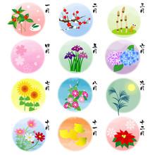 カレンダー素材 四季の花