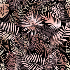 Fototapeta Do sypialni Rose gold tropical seamless pattern. Pink jungle leaves on black background